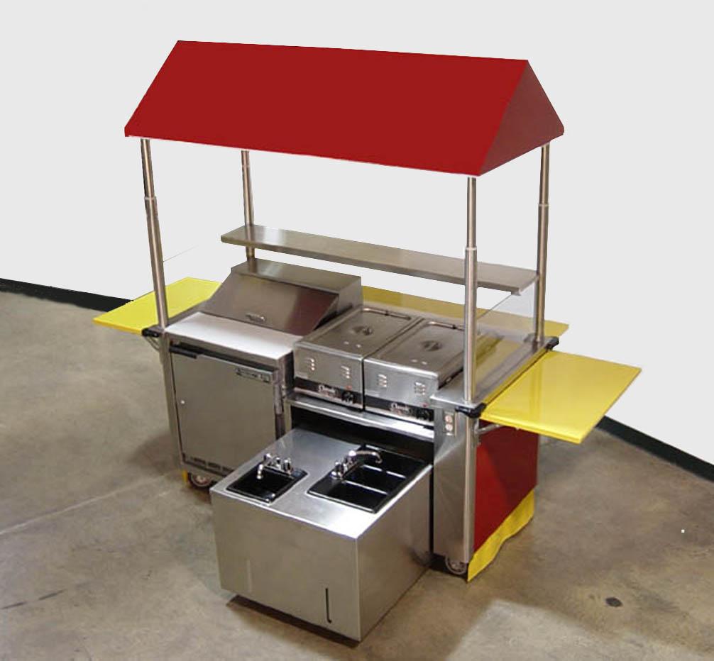 Custom Hotdog Vending Cart Features Refrigerator And Self