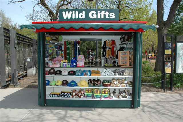 Outdoor retail vending concession kiosk stand at zoo amusement park